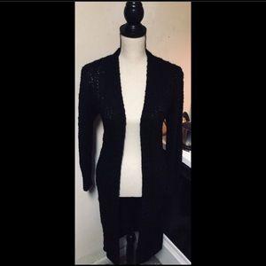 Black Knit Long Cardigan/Duster, Sz. XS